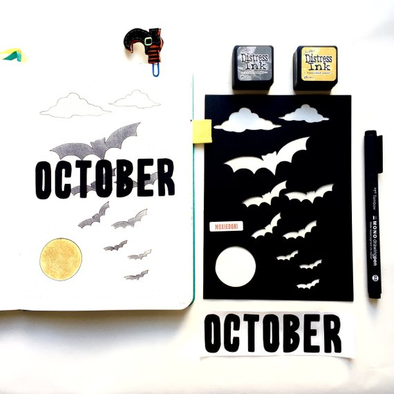 Spooky Bat Moon Halloween Bullet Journal Stencil