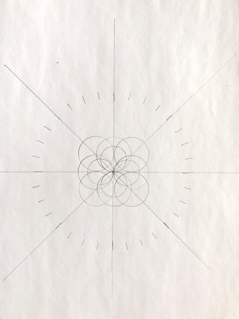 These circles are divided into 32 equal parts