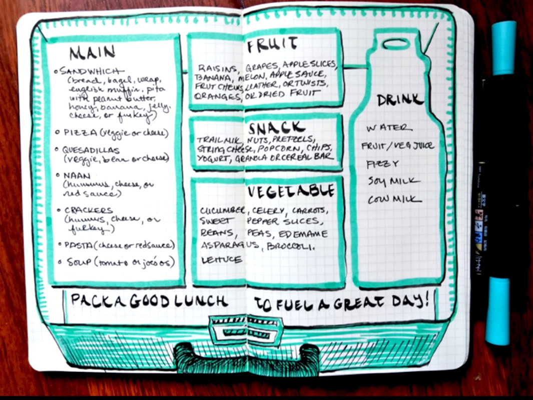 School Lunch Plan Bullet Journal Spread