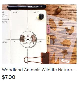 Woodland Animal Bullet Journal Stencil